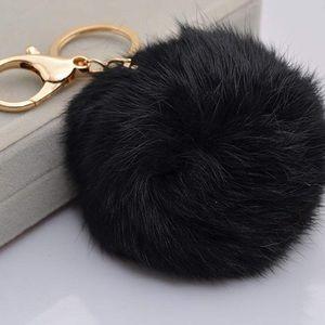 Accessories - Black Pom Pom keychain